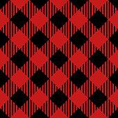 Red and black lumberjack seamless diagonal pattern.