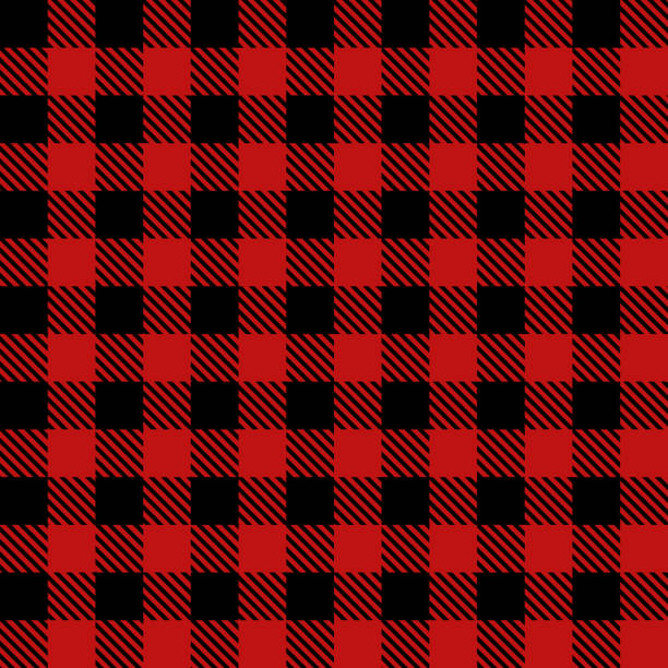 red lumberjack cloth fabric pattern - flannel backgrounds stock illustrations, clip art, cartoons, & icons