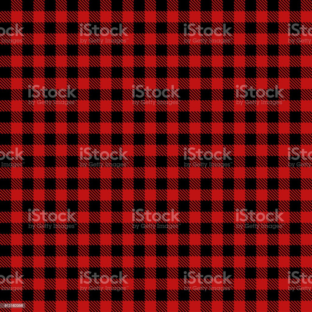 Red Lumberjack Cloth Fabric Pattern vector art illustration