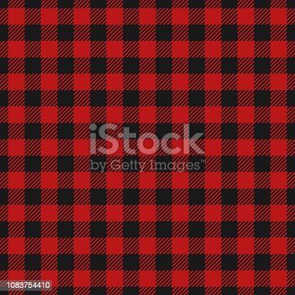 Red and Black Lumberjack seamless background. Woodcutter plaid pattern. Template for clothing fabrics. Tartan flannel shirt patterns. Vector texture. EPS 10.