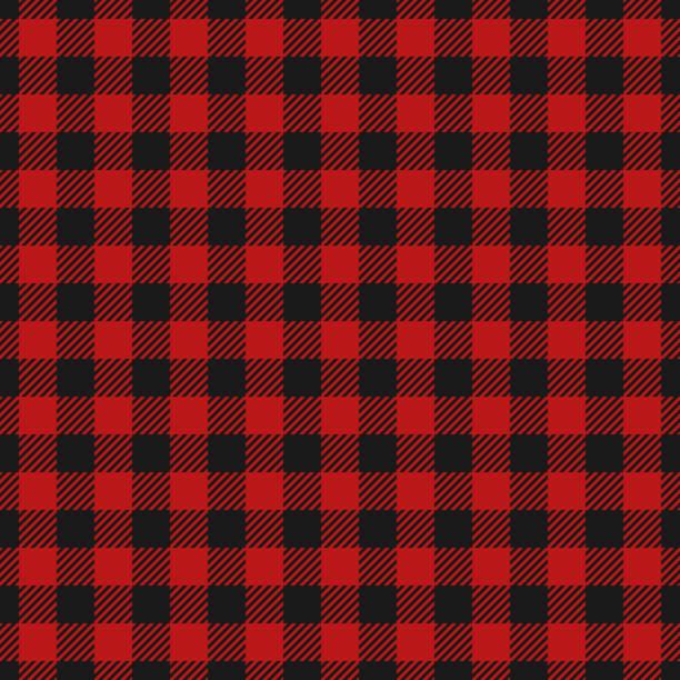 red lumberjack pattern. - cotton stock illustrations