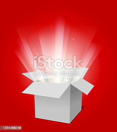 exploding open magical gift box design template