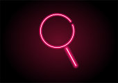 Red Magnifying Glass Icon Neon Light On Black Wall