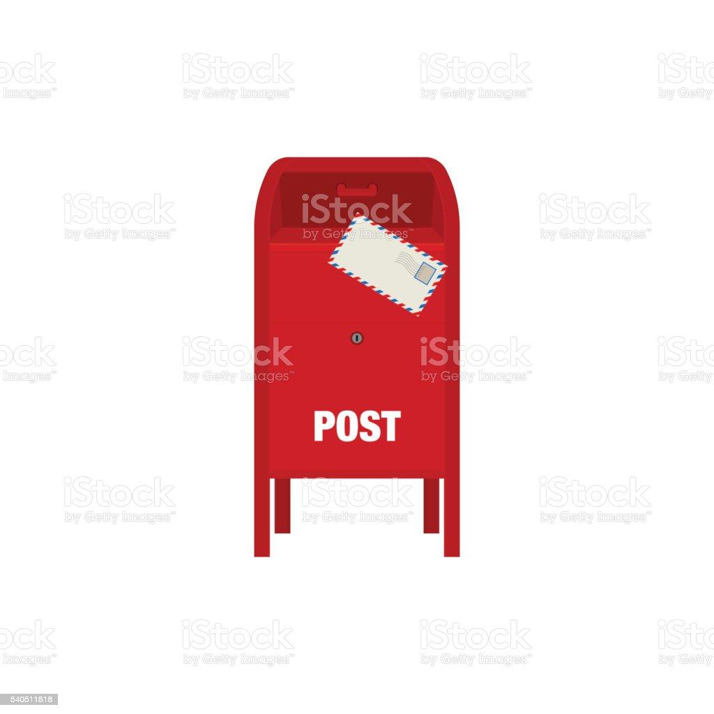 Rot mail-Kasten Vektor-illustration isoliert auf weißem Hintergrund – Vektorgrafik