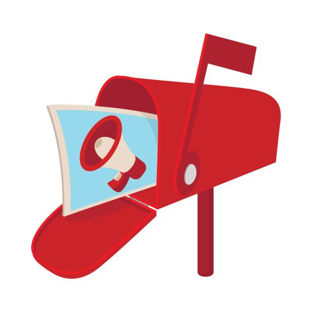 Roten Briefkasten-Symbol mit Megaphon Poster, cartoon – Vektorgrafik