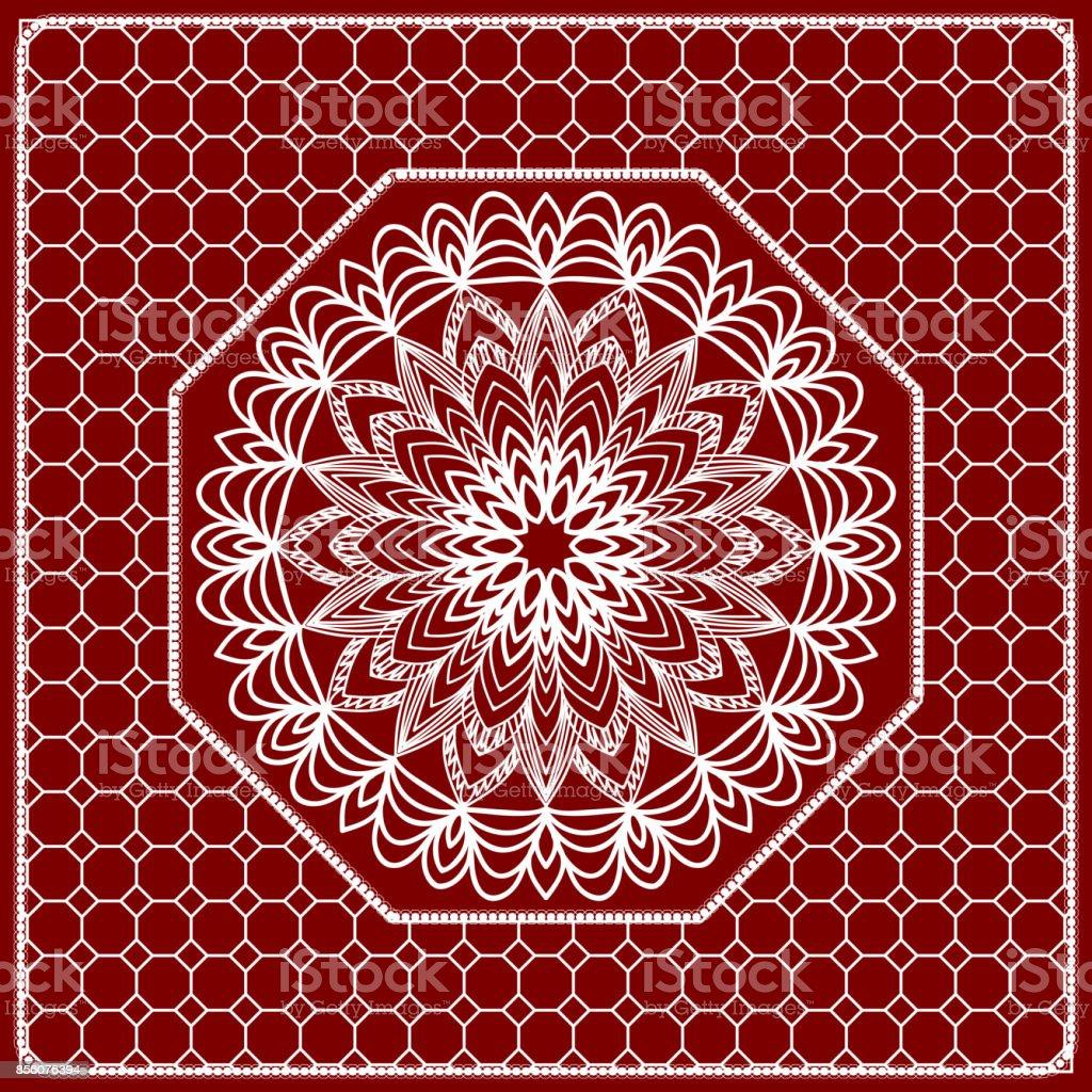 Fondo De Mandala Rojo Patrón Geométrico Con El Marco De Encaje ...