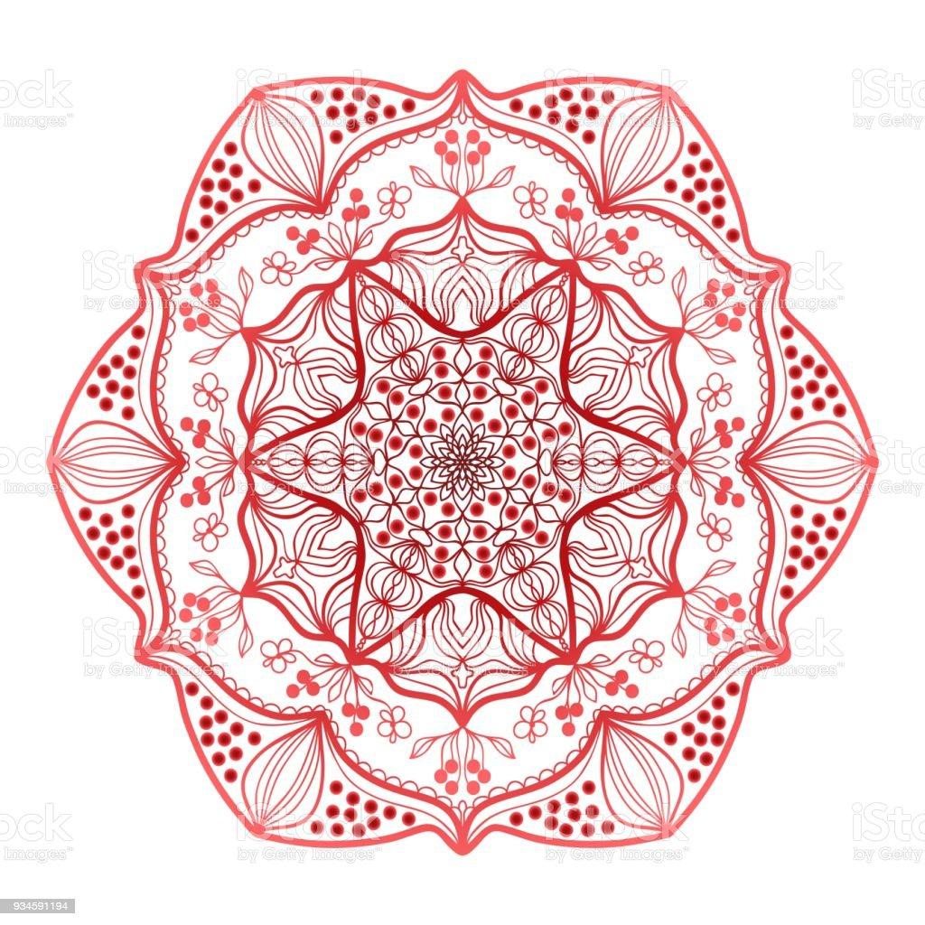 Roten Mandala Vintage Dekoelemente Handgezeichnete Hintergrund ...