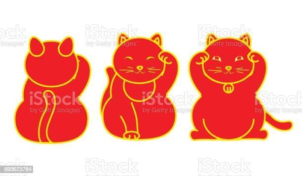 Red maneki neko neco set a cat with a raised paw japanese luck symbol vector id693623784?b=1&k=6&m=693623784&s=612x612&h=xq5khquqce jkbpagy0kp6nsr53zf2c93xbwclmfm7s=