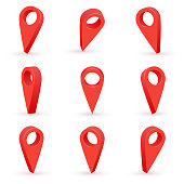 Red map marker icon in vector. Location symbols vector set isolated on white background. Web location point, pointer 3d arrow mark. Realistic 3d pointer of map.