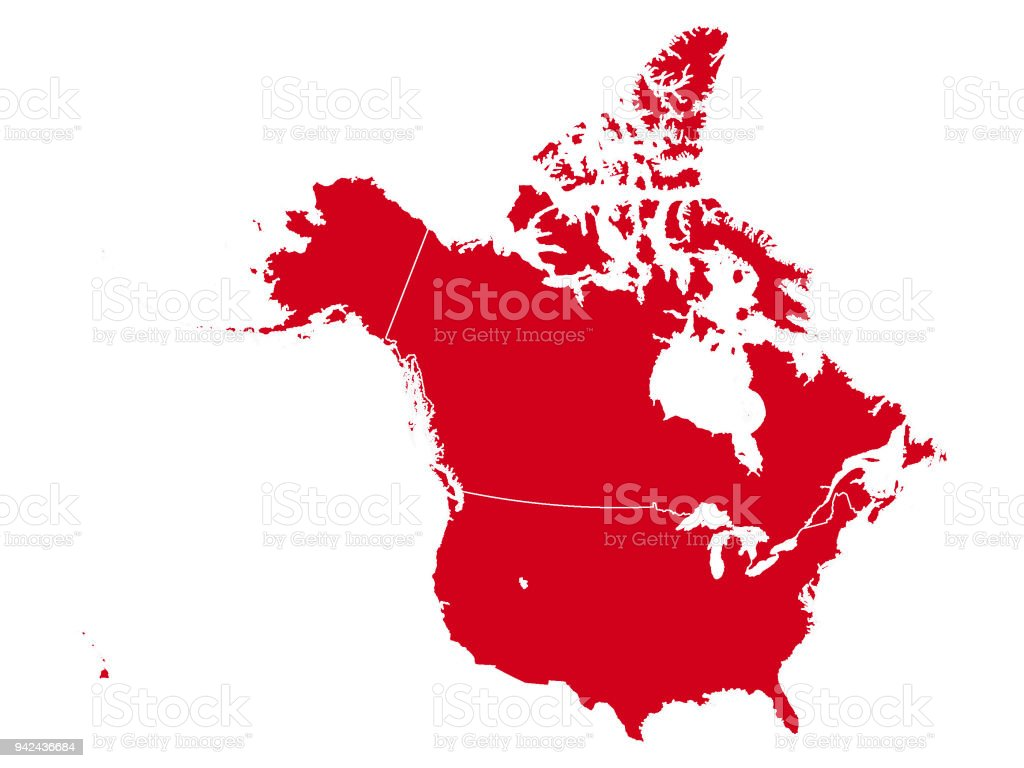 Map Of Canada Red.Red Map Of Canada And Usa Stock Illustration Download Image Now
