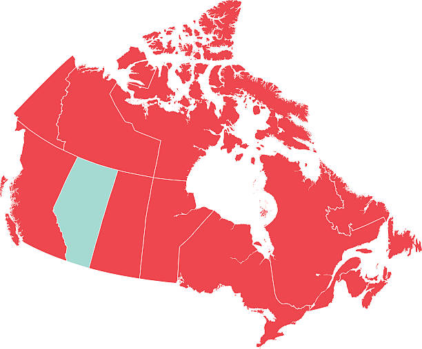 Red Map of Canada with Alberta Isolated in Blue Red flat 2D vector map of the provinces and territories of Canada with  Alberta isolated in blue. This map shows each of the provinces and territories line divisions.  Each province map piece can be moved and manipulated.  The map is isolated on white. alberta stock illustrations