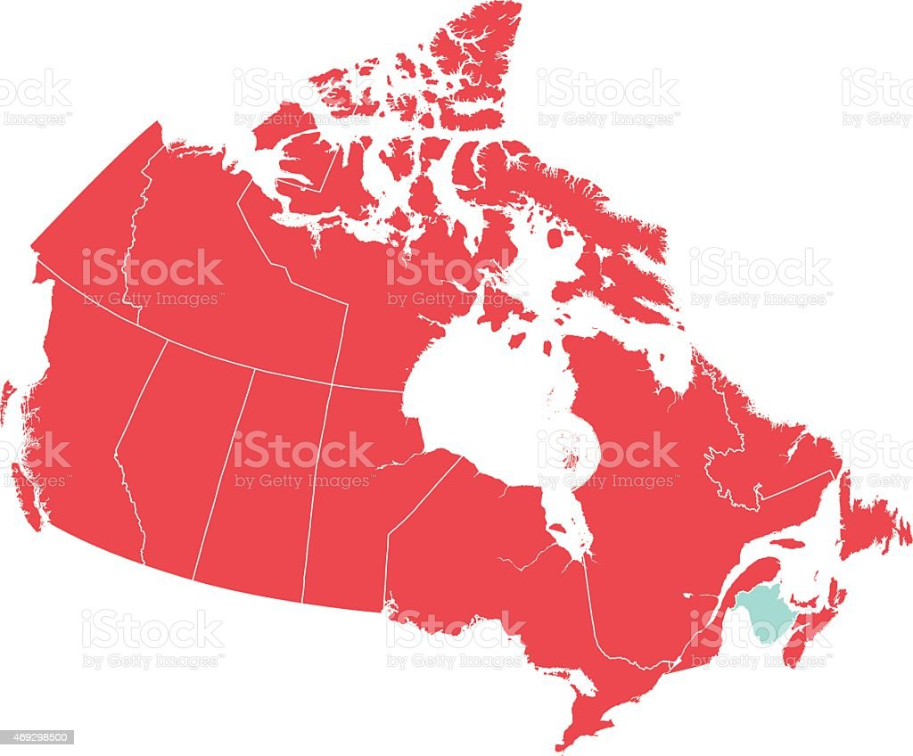 Map Of Canada Red.Red Map Of Canada With New Brunswick Isolated In Blue Stock Illustration Download Image Now
