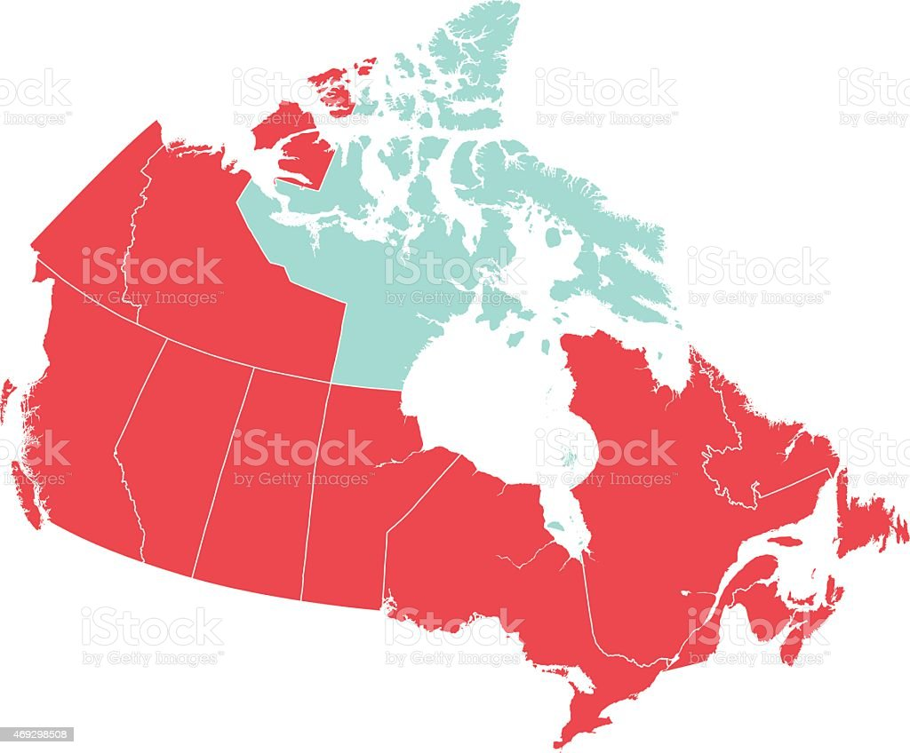 Red Map of Canada with Nunavut Isolated in Blue vector art illustration