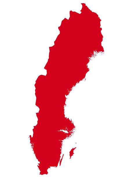 bildbanksillustrationer, clip art samt tecknat material och ikoner med röd karta över det europeiska sverige landet - sweden map