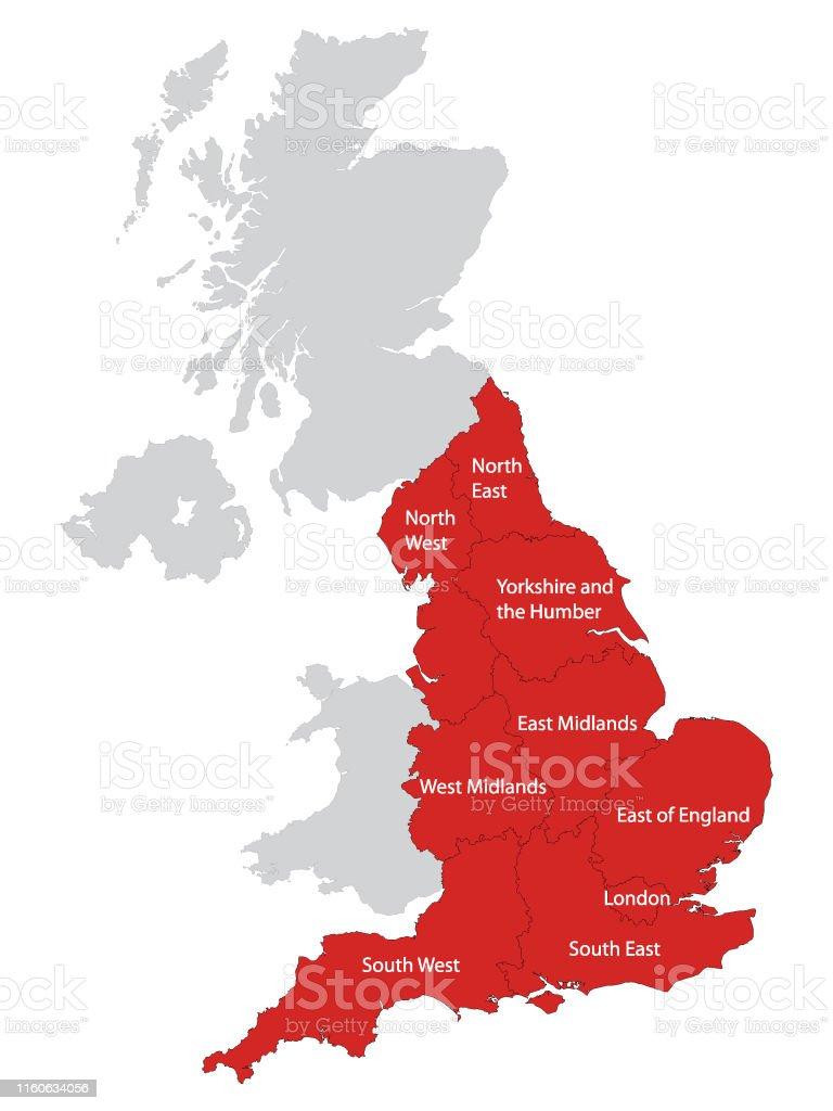Carte Angleterre Region.Carte Rouge Des Regions De Langleterre Avec Des Noms