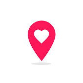 Red map pointer heart icon. GPS location symbol. Web pointer - heart. Map pin. Vector