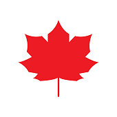 Red Maple Leaf icon Canada symbol Autumn leaves. Vector silhouette isolated