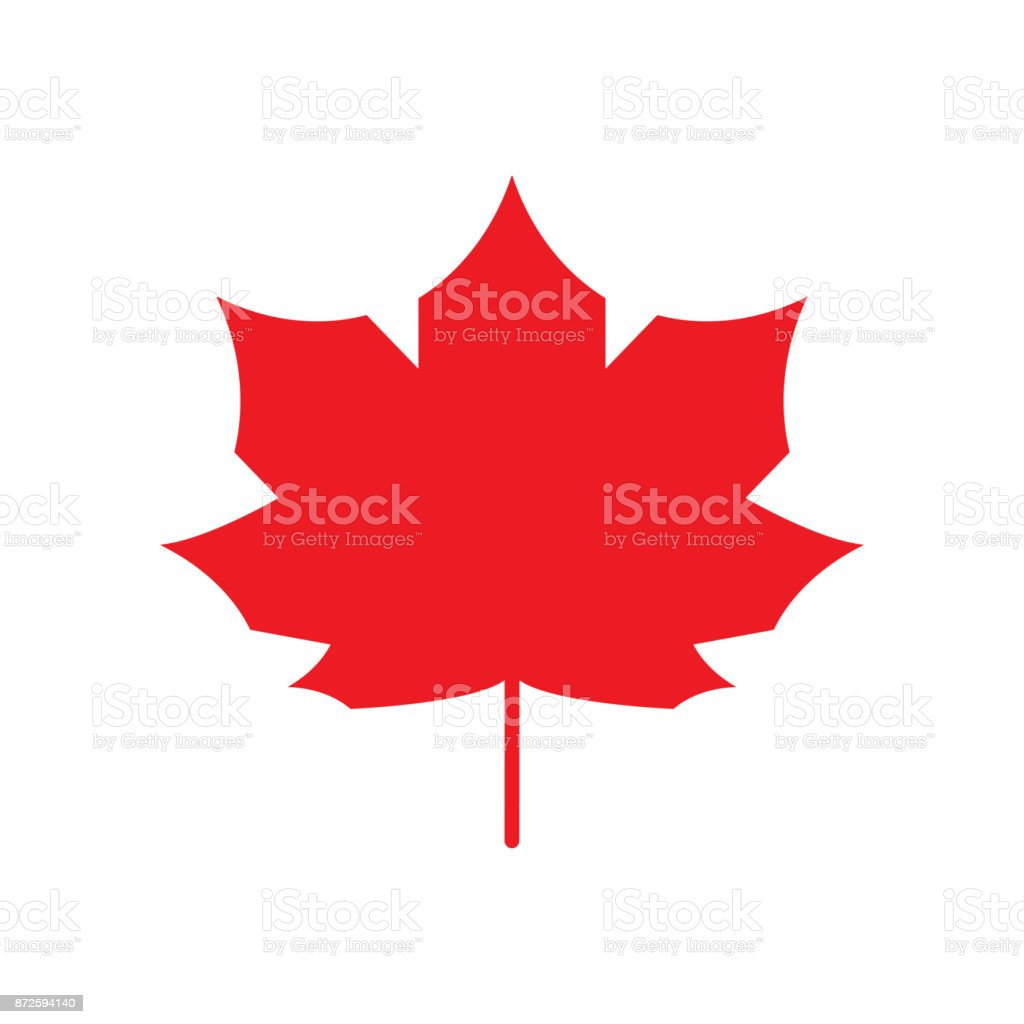 Red Maple Leaf icon Canada symbol Autumn leaves. Vector silhouette vector art illustration