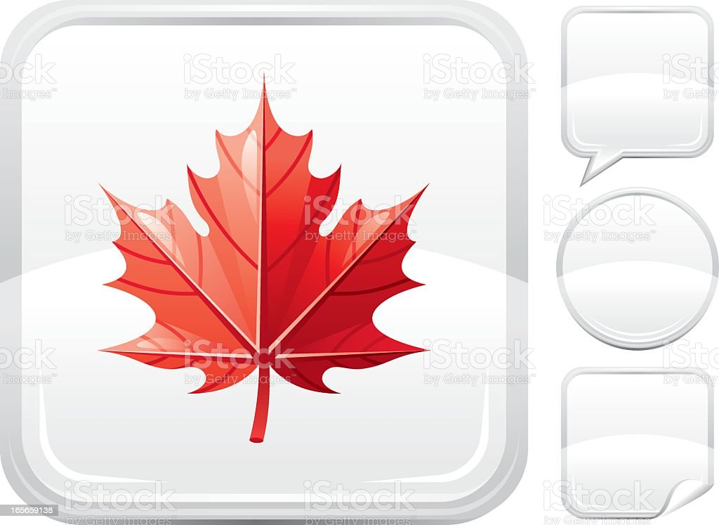 Red maple leaf icon on silver button royalty-free stock vector art