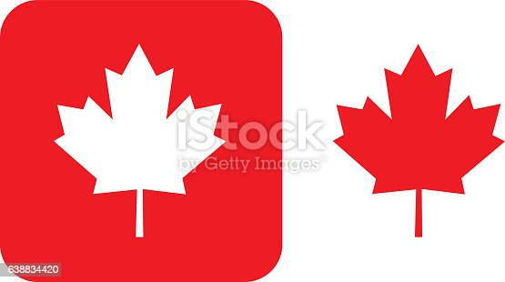 Vector illustration of two red maple leaf icons.