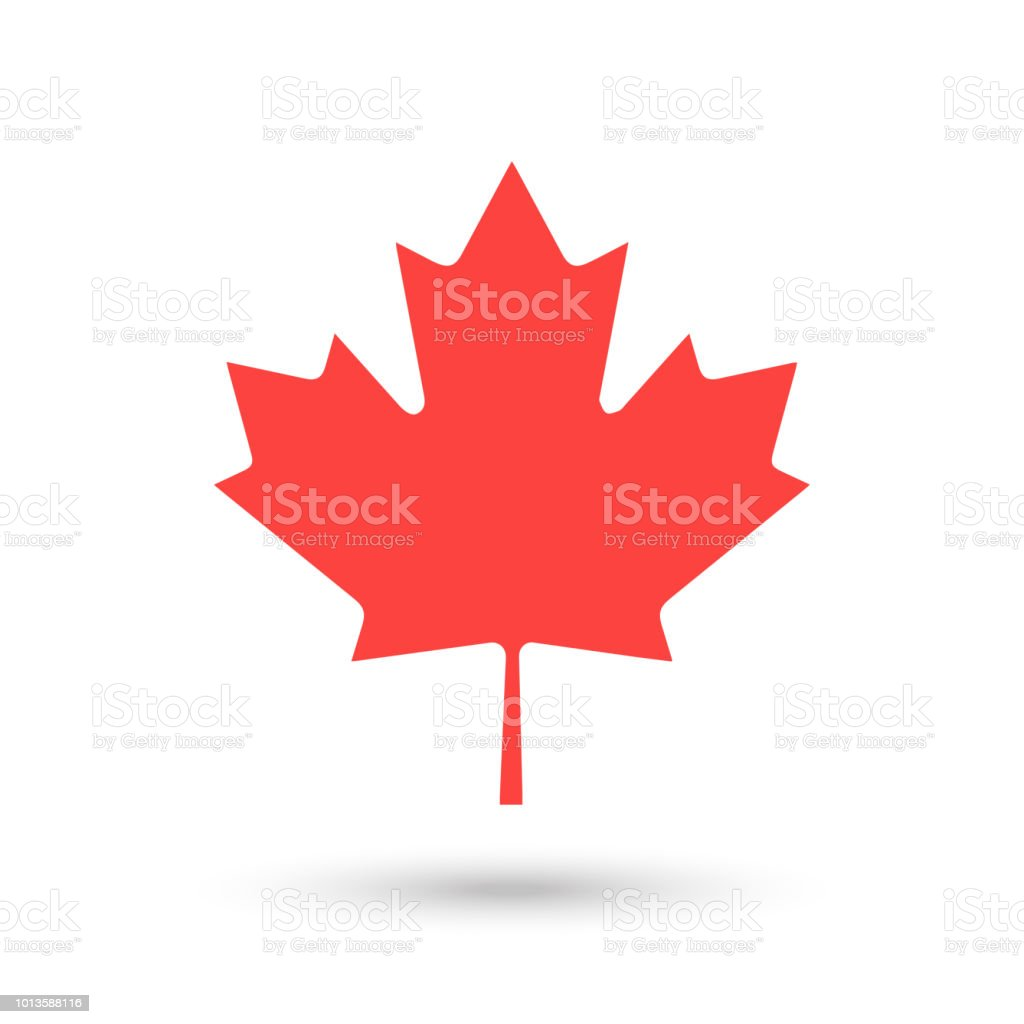 Red Maple leaf logo for Happy Canada Day vector art illustration