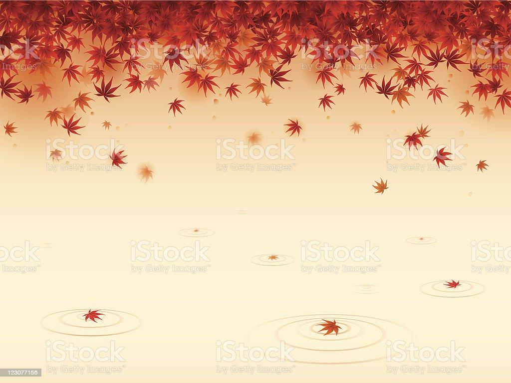 Red maple leaves vector art illustration