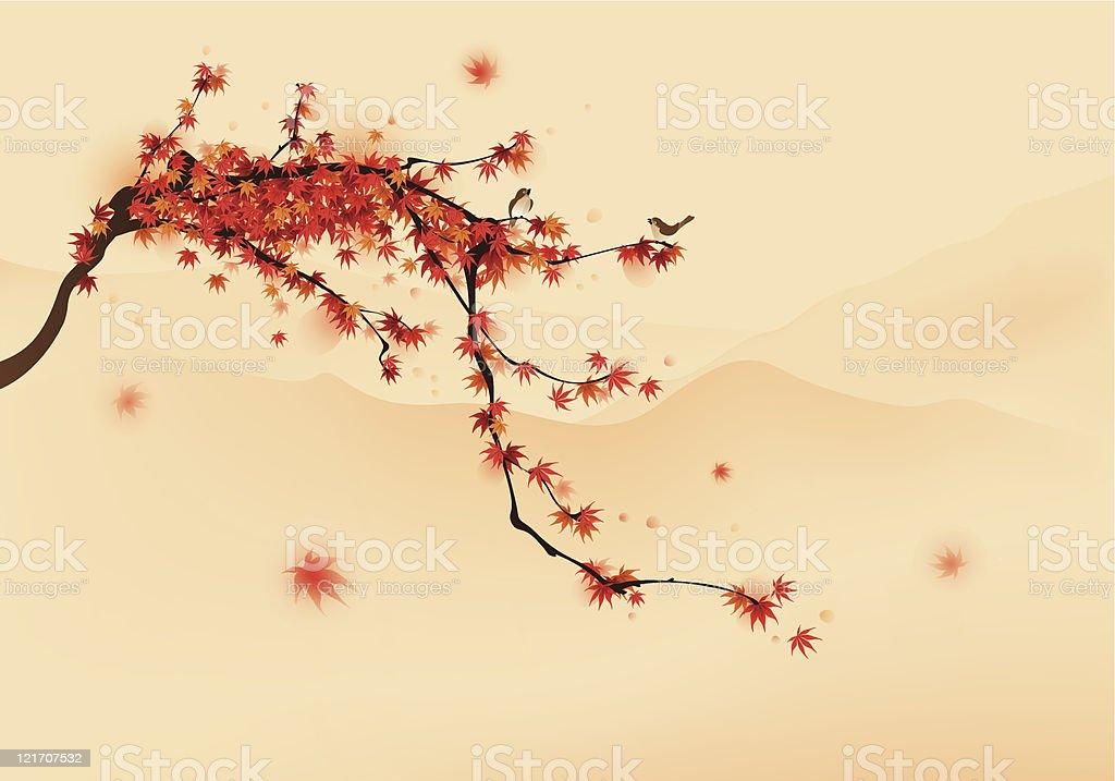 Red maple tree in autumn vector art illustration