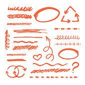 Red Marker strokes set
