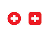 istock Red medical cross in circle and square. First aid sign. Hospital emblem. Emergency button. White plus icon in flat design. Isolated cross symbol. Pharmacy health care. Vector EPS 10. 1255191423