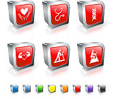Red Medical Workout variation 3D icon set with metal rim