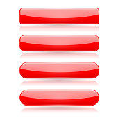 Red menu buttons. Rectangle and oval 3d shiny icons with reflection. Vector illustration