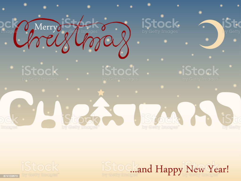 Red Merry Christmas Font On Blue Sky Background Xmas And Happy New ...