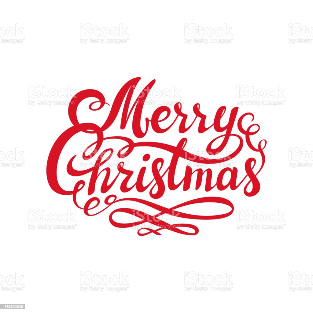 Merry Christmas Text.Red Merry Christmas Text Calligraphic Lettering Design Card