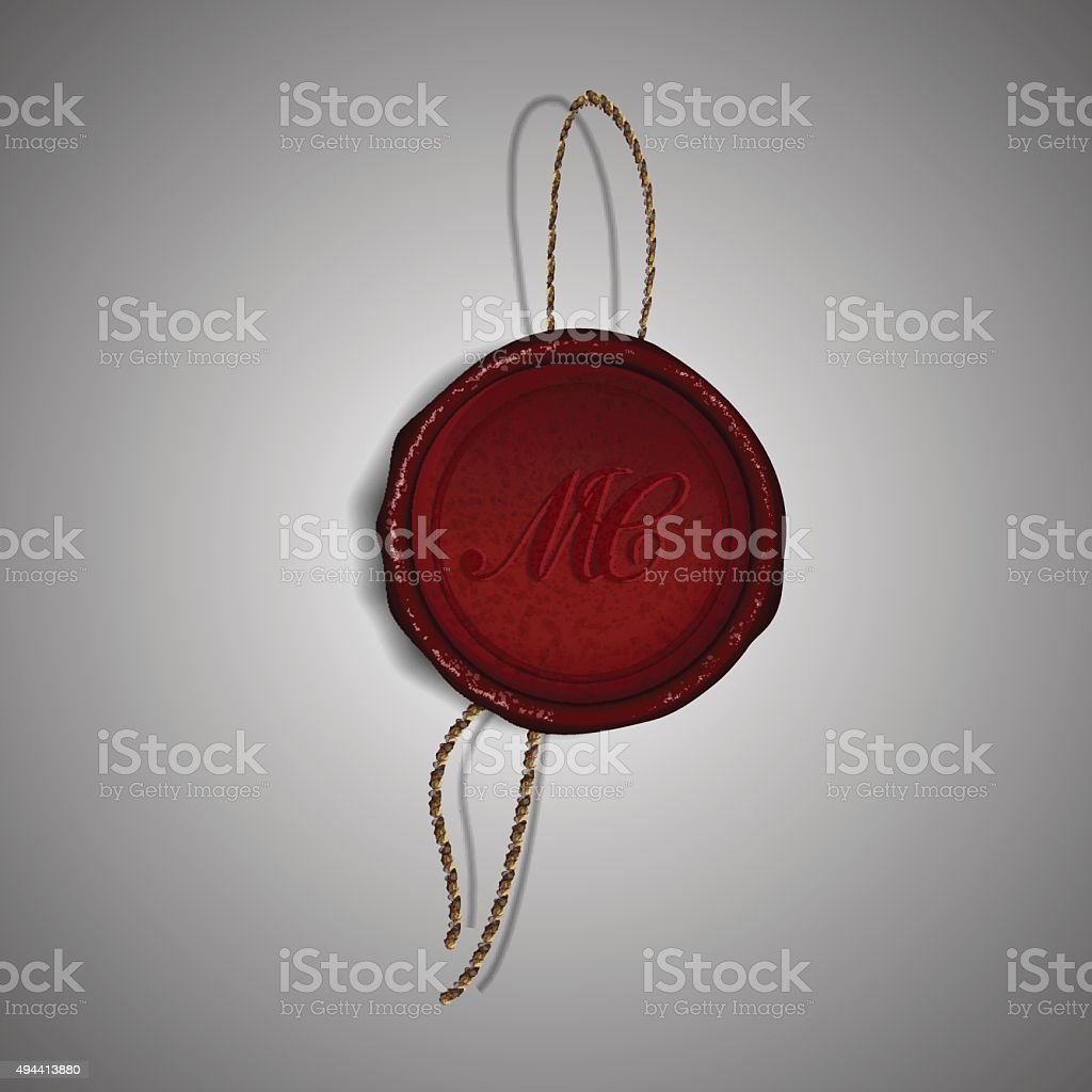 Red Merry Christmas wax stamp on gray background, vector illustration vector art illustration