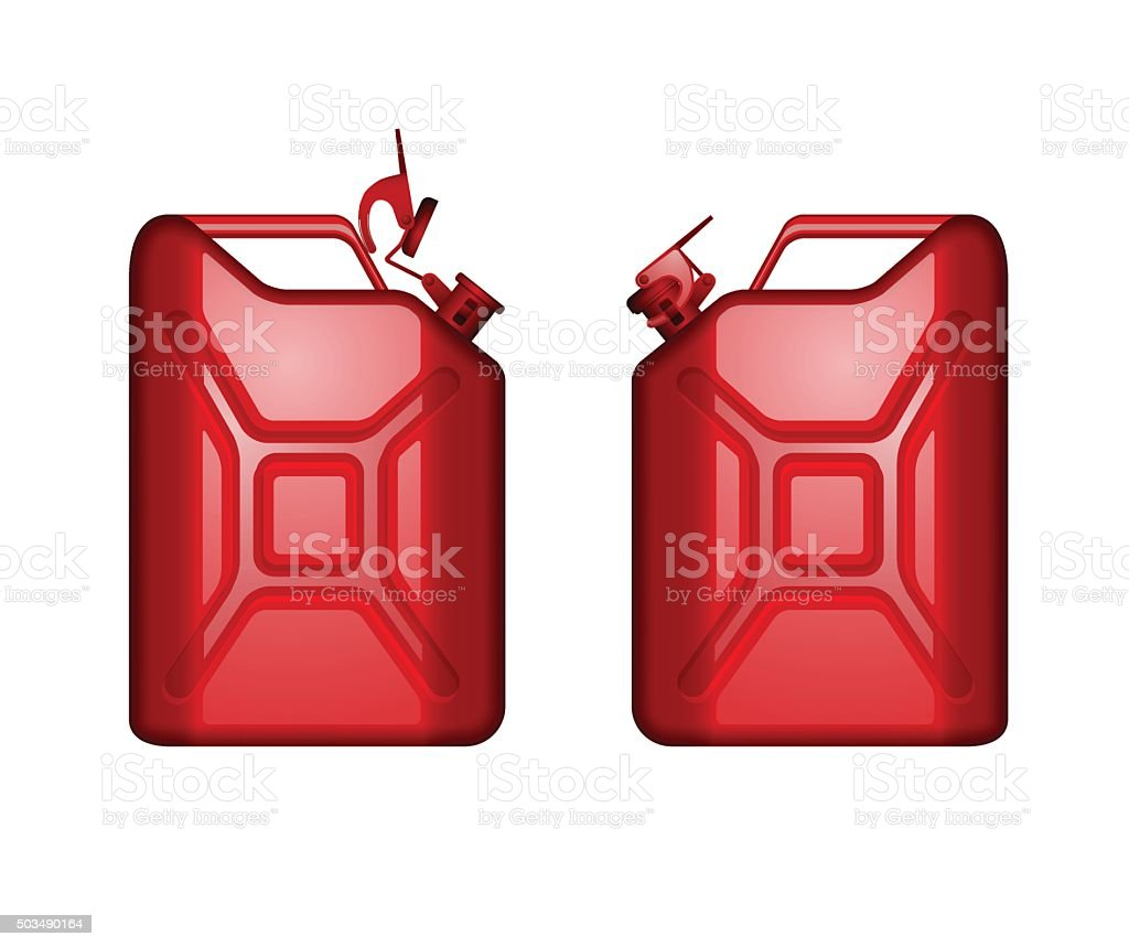 red metal canister for fuel vector art illustration