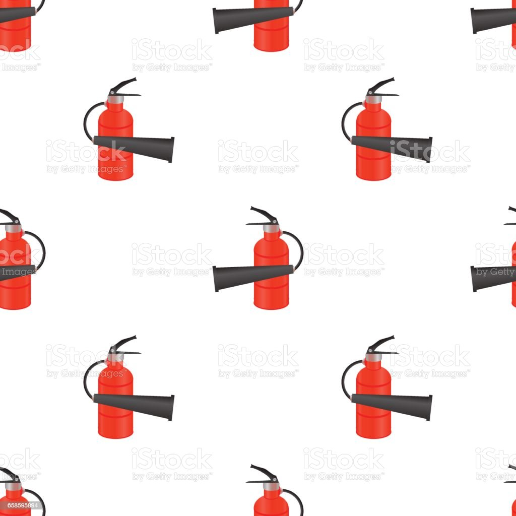 Red Metallic Extinguisher Seamless Pattern vector art illustration