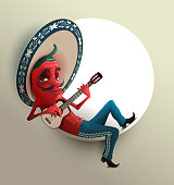 Red Mexican hot chili pepper in sombrero playing guitar. Vector cartoon illustration