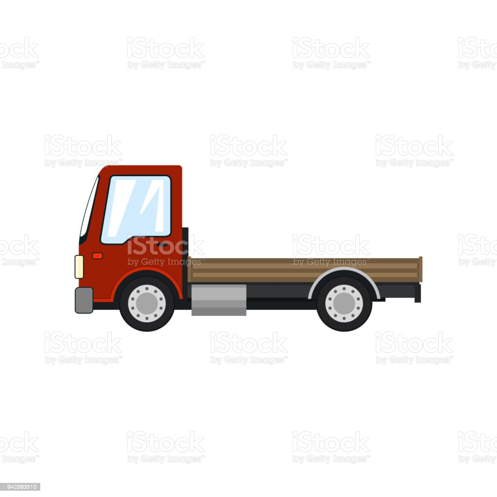 Red Mini Truck without Load Isolated vector art illustration