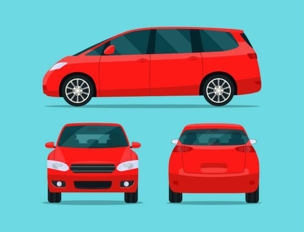 roter minivan isoliert. minivan mit seitenansicht, rückansicht und frontansicht. vector flachstil illustration. - van stock-grafiken, -clipart, -cartoons und -symbole