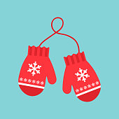 istock Red mittens. Snowflakes on mittens. Vector illustration. Flat design for business financial marketing banking advertising web concept cartoon illustration. 1178381000