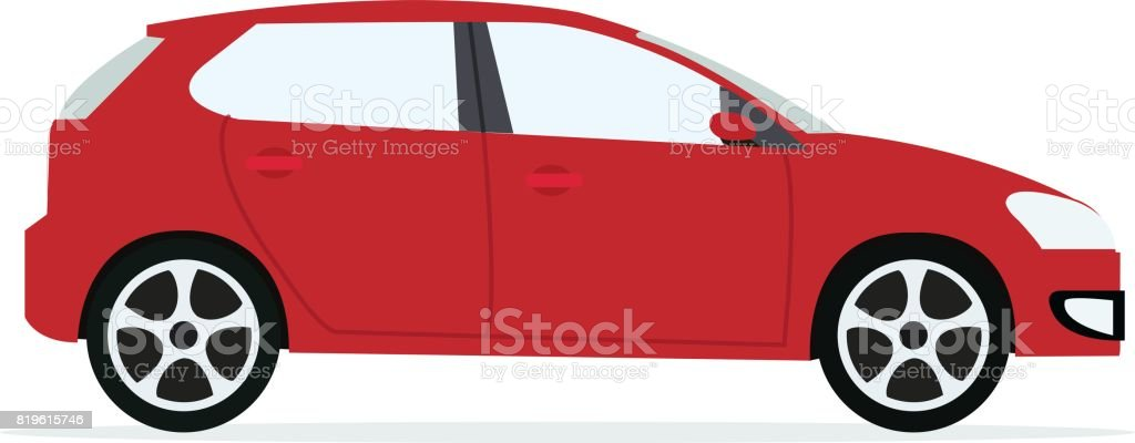 Red modern Car with isolated white background.Sport car vector. vector art illustration