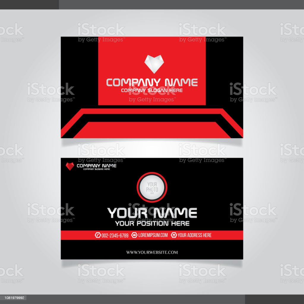 Rote Moderne Kreative Visitenkarte Und Namenskarte Stock
