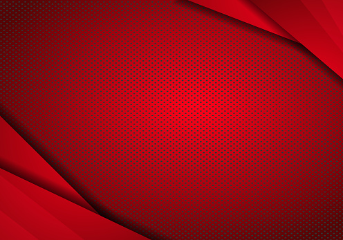 Red Modern Technology Design Background with dots Texture. vector overlap layer on Red space with abstract style.