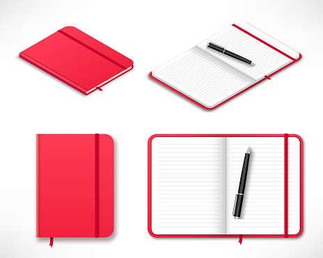 red moleskin notebook top and isometric