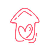 Red Monoline cute house with heart. Vector Valentines Day Hand Drawn icon. Holiday sketch doodle Design element valentine. love decor for web, wedding and print. Isolated illustration
