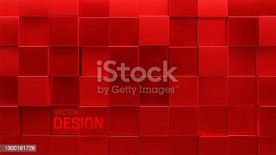 istock Red mosaic background. Random cubes backdrop. 1300161726