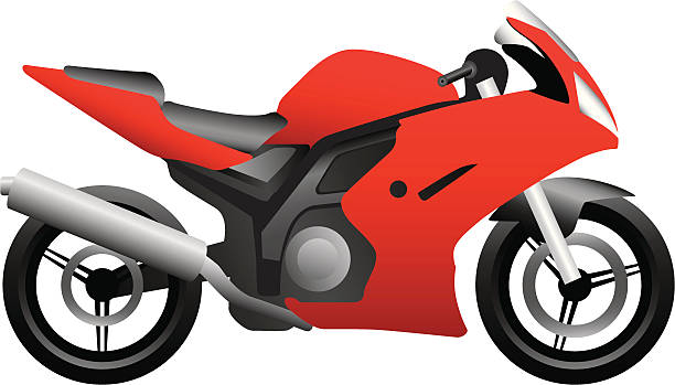 Red Motorbike vector art illustration