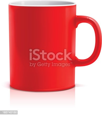 Vector illustration of classic red mug with white interior