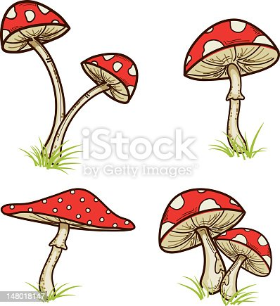 istock Red Mushrooms With Grass 148018147