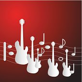 istock Red Music Background with Guitars and Staff 478594295